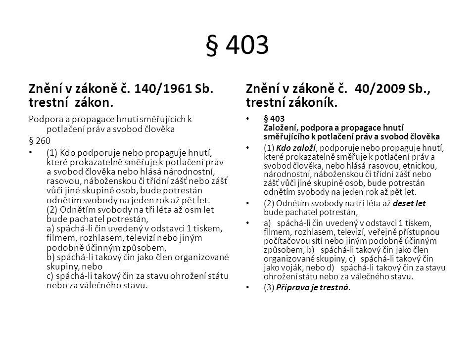§ 403 Znění v zákoně č. 140/1961 Sb. trestní zákon. Podpora a propagace hnutí směřujících k potlačení práv a svobod člověka § 260 (1) Kdo podporuje ne