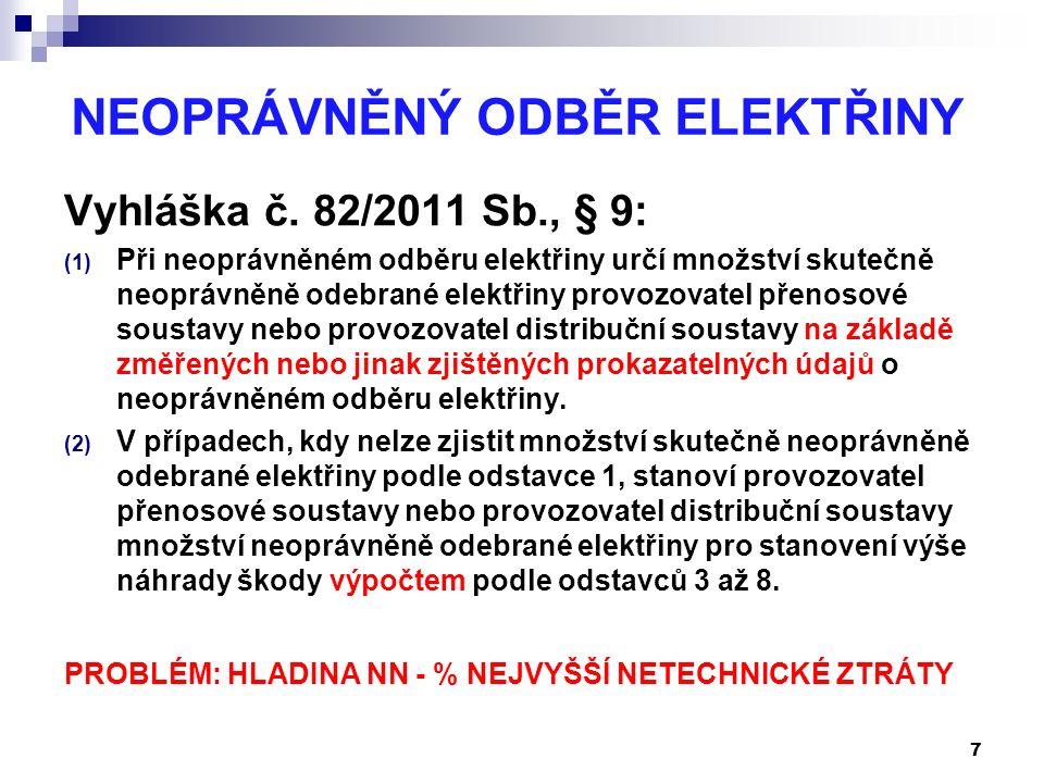 NEOPRÁVNĚNÝ ODBĚR ELEKTŘINY Vyhláška č. 82/2011 Sb., § 9: (1) Při neoprávněném odběru elektřiny určí množství skutečně neoprávněně odebrané elektřiny
