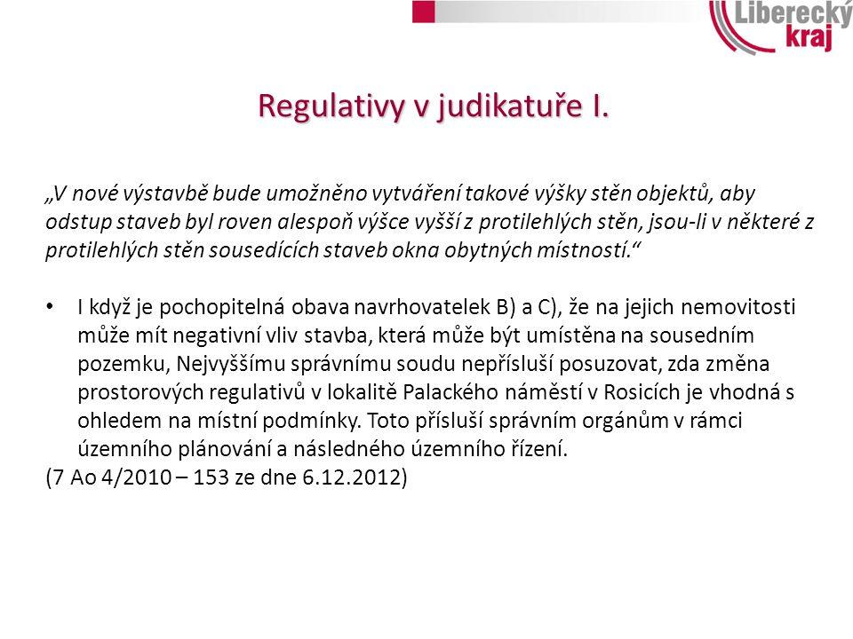 Regulativy v judikatuře I.