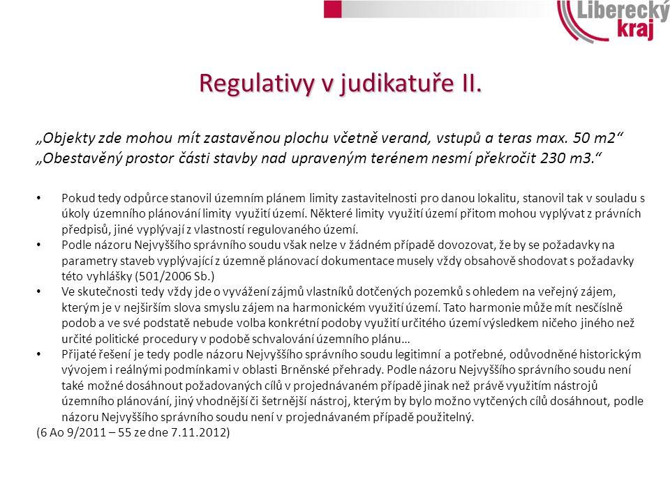 Regulativy v judikatuře II.