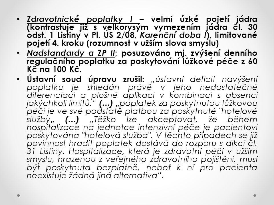 Zdravotnické poplatky I – velmi úzké pojetí jádra (kontrastuje již s velkorysým vymezením jádra čl. 30 odst. 1 Listiny v Pl. ÚS 2/08, Karenční doba I