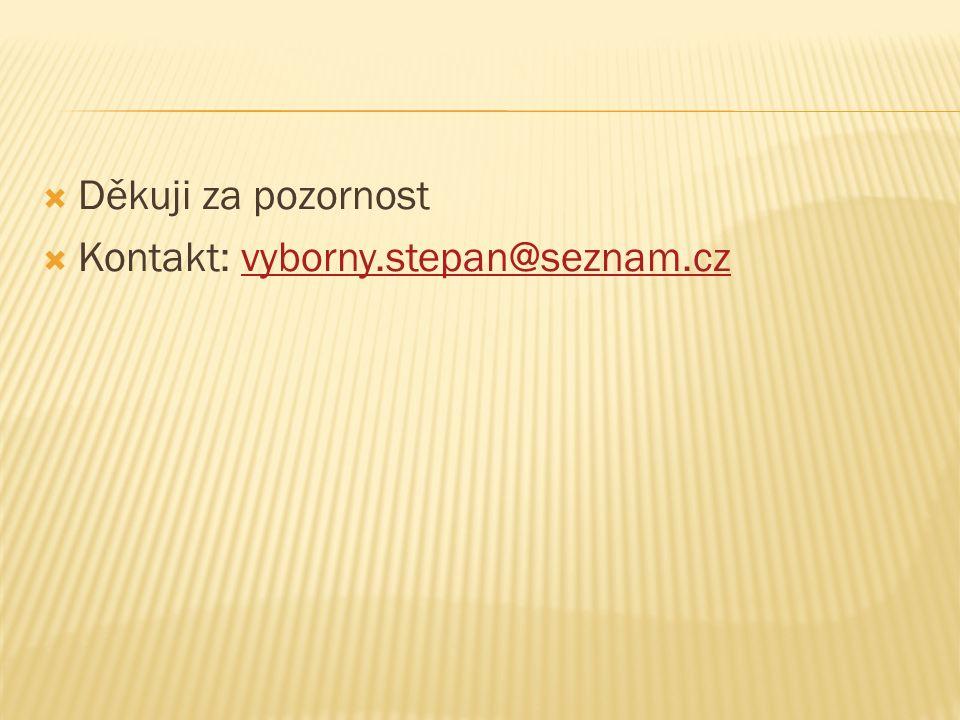  Děkuji za pozornost  Kontakt: vyborny.stepan@seznam.czvyborny.stepan@seznam.cz