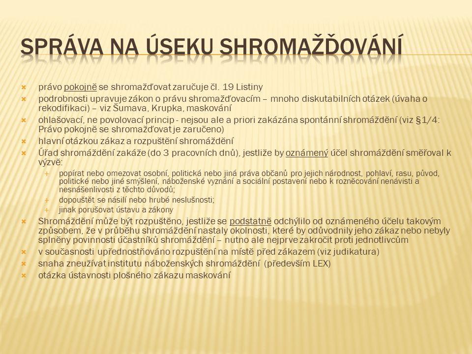  právo pokojně se shromažďovat zaručuje čl.