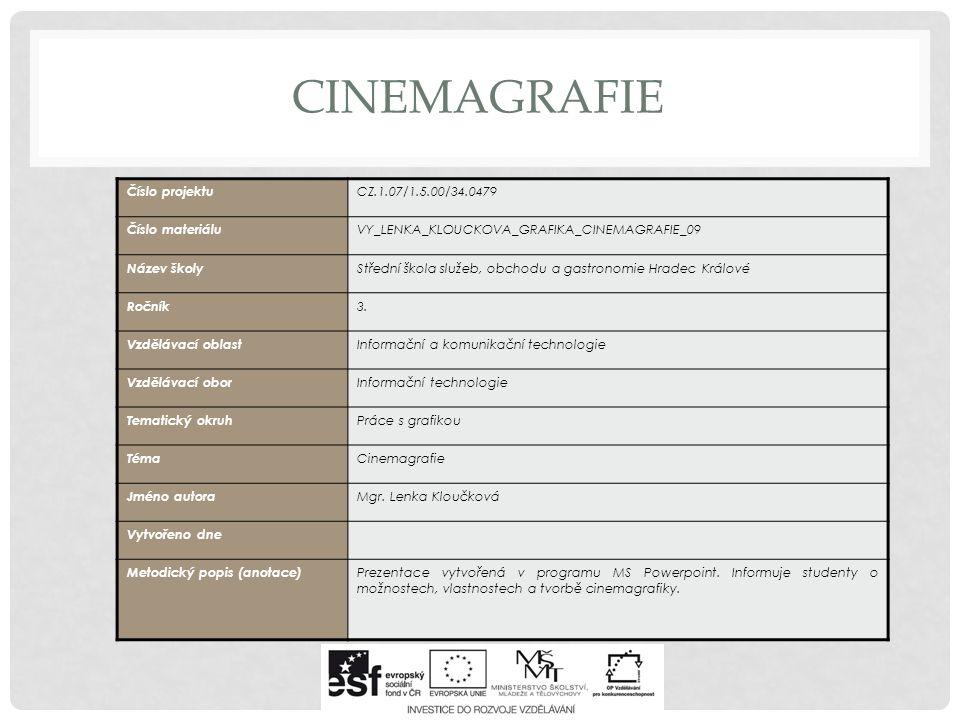 CINEMAGRAFIE Pokouší se o vytvoření nové formy uměleckého ztvárnění, při kterém zachycuje reálné prostředí způsobem fotografickým s kombinací dokola se opakujících krátkých scén.