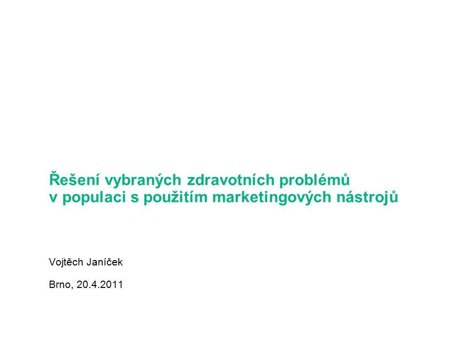 Řešení vybraných zdravotních problémů v populaci s použitím marketingových nástrojů Vojtěch Janíček Brno, 20.4.2011