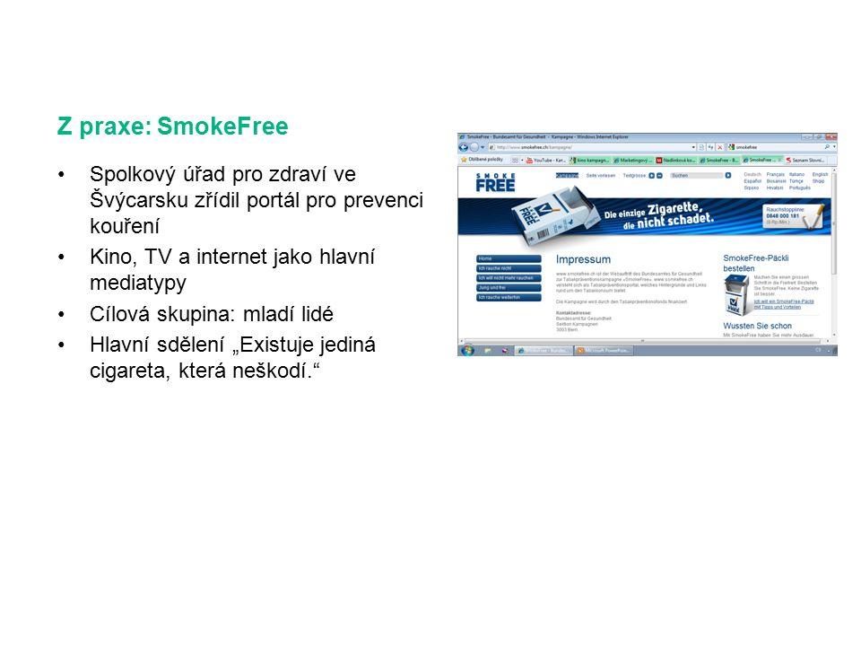 """Z praxe: SmokeFree Spolkový úřad pro zdraví ve Švýcarsku zřídil portál pro prevenci kouření Kino, TV a internet jako hlavní mediatypy Cílová skupina: mladí lidé Hlavní sdělení """"Existuje jediná cigareta, která neškodí."""