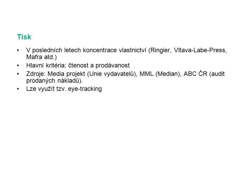 Tisk V posledních letech koncentrace vlastnictví (Ringier, Vltava-Labe-Press, Mafra atd.) Hlavní kritéria: čtenost a prodávanost Zdroje: Media projekt (Unie vydavatelů), MML (Median), ABC ČR (audit prodaných nákladů).