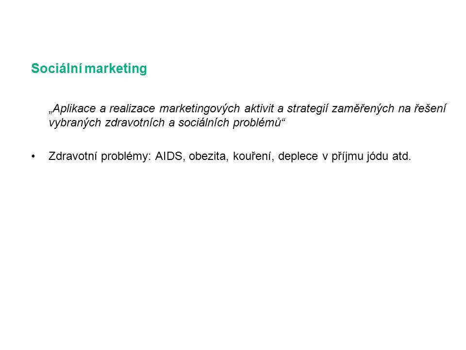 """Sociální marketing """"Aplikace a realizace marketingových aktivit a strategií zaměřených na řešení vybraných zdravotních a sociálních problémů Zdravotní problémy: AIDS, obezita, kouření, deplece v příjmu jódu atd."""
