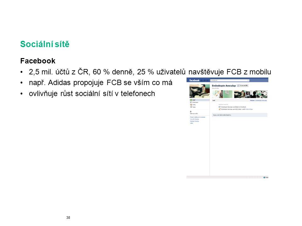 Sociální sítě Facebook 2,5 mil.účtů z ČR, 60 % denně, 25 % uživatelů navštěvuje FCB z mobilu např.