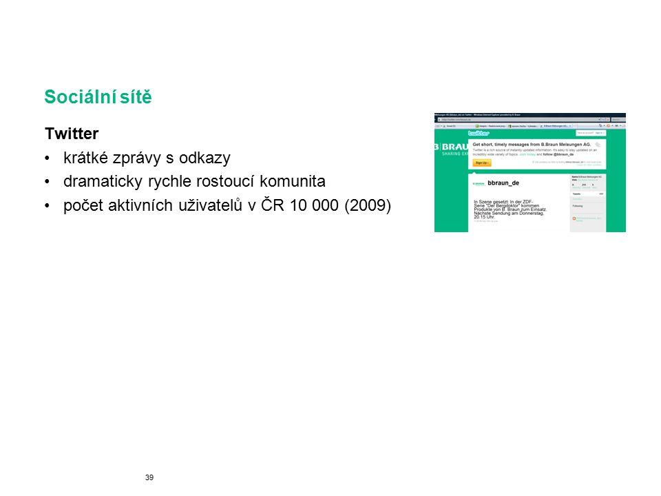 Sociální sítě Twitter krátké zprávy s odkazy dramaticky rychle rostoucí komunita počet aktivních uživatelů v ČR 10 000 (2009) 39