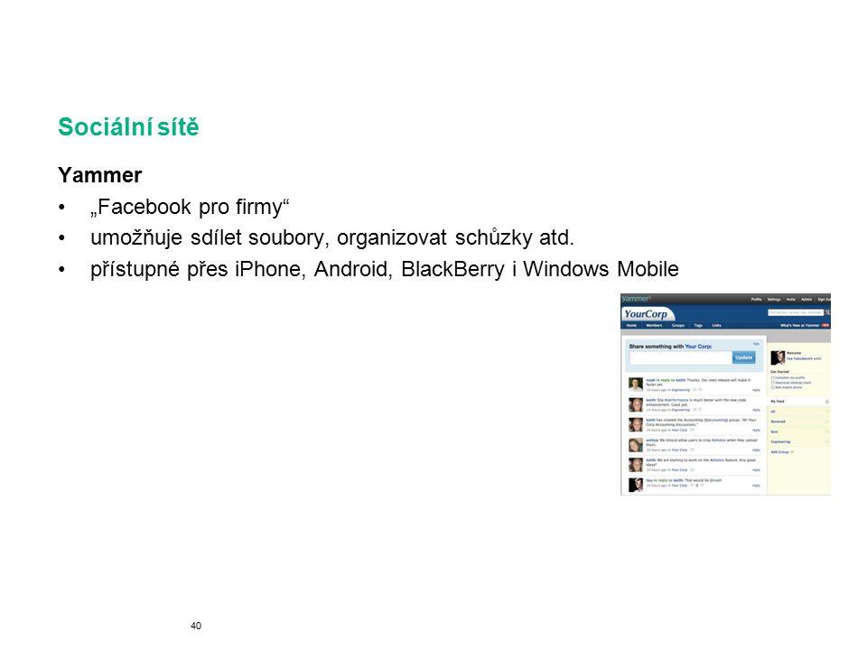"""Sociální sítě Yammer """"Facebook pro firmy umožňuje sdílet soubory, organizovat schůzky atd."""