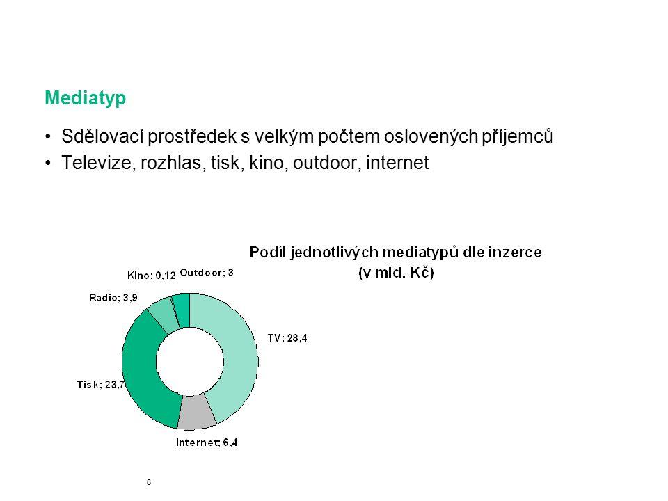 Mediatyp Sdělovací prostředek s velkým počtem oslovených příjemců Televize, rozhlas, tisk, kino, outdoor, internet 6