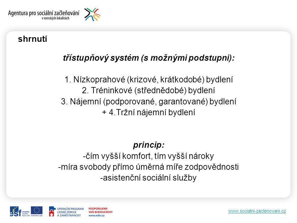 www.socialni-zaclenovani.cz shrnutí třístupňový systém (s možnými podstupni): 1.