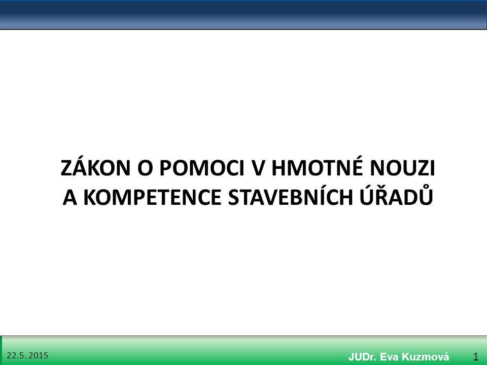 22.5. 2015 1 ZÁKON O POMOCI V HMOTNÉ NOUZI A KOMPETENCE STAVEBNÍCH ÚŘADŮ JUDr. Eva Kuzmová