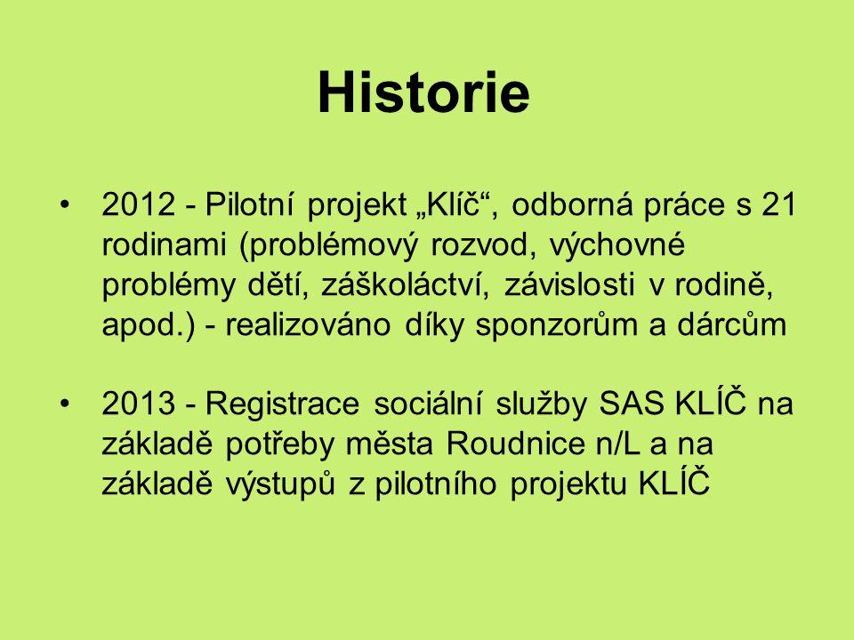 """Historie 2012 - Pilotní projekt """"Klíč , odborná práce s 21 rodinami (problémový rozvod, výchovné problémy dětí, záškoláctví, závislosti v rodině, apod.) - realizováno díky sponzorům a dárcům 2013 - Registrace sociální služby SAS KLÍČ na základě potřeby města Roudnice n/L a na základě výstupů z pilotního projektu KLÍČ"""
