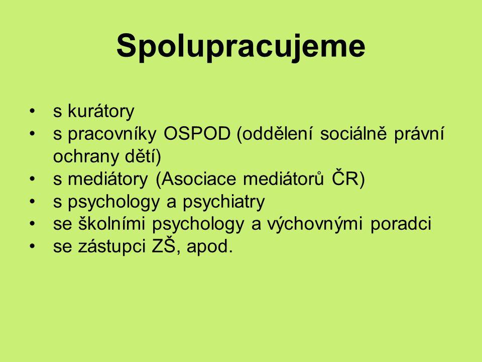 Spolupracujeme s kurátory s pracovníky OSPOD (oddělení sociálně právní ochrany dětí) s mediátory (Asociace mediátorů ČR) s psychology a psychiatry se školními psychology a výchovnými poradci se zástupci ZŠ, apod.