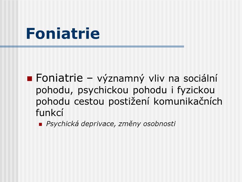 Foniatrie Foniatrie – významný vliv na sociální pohodu, psychickou pohodu i fyzickou pohodu cestou postižení komunikačních funkcí Psychická deprivace, změny osobnosti
