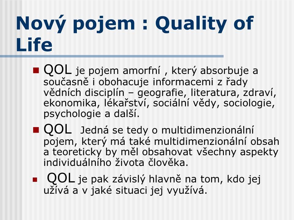 Nový pojem : Quality of Life QOL je pojem amorfní, který absorbuje a současně i obohacuje informacemi z řady vědních disciplín – geografie, literatura, zdraví, ekonomika, lékařství, sociální vědy, sociologie, psychologie a další.