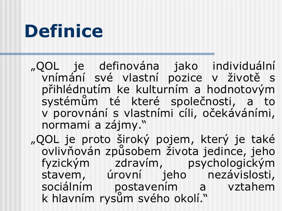 """Definice """"QOL je definována jako individuální vnímání své vlastní pozice v životě s přihlédnutím ke kulturním a hodnotovým systémům té které společnosti, a to v porovnání s vlastními cíli, očekáváními, normami a zájmy. """"QOL je proto široký pojem, který je také ovlivňován způsobem života jedince, jeho fyzickým zdravím, psychologickým stavem, úrovní jeho nezávislosti, sociálním postavením a vztahem k hlavním rysům svého okolí."""