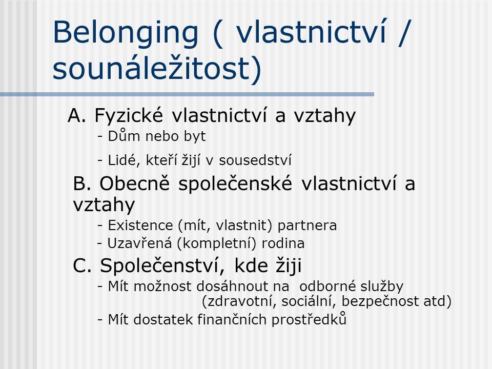 Belonging ( vlastnictví / sounáležitost) A.