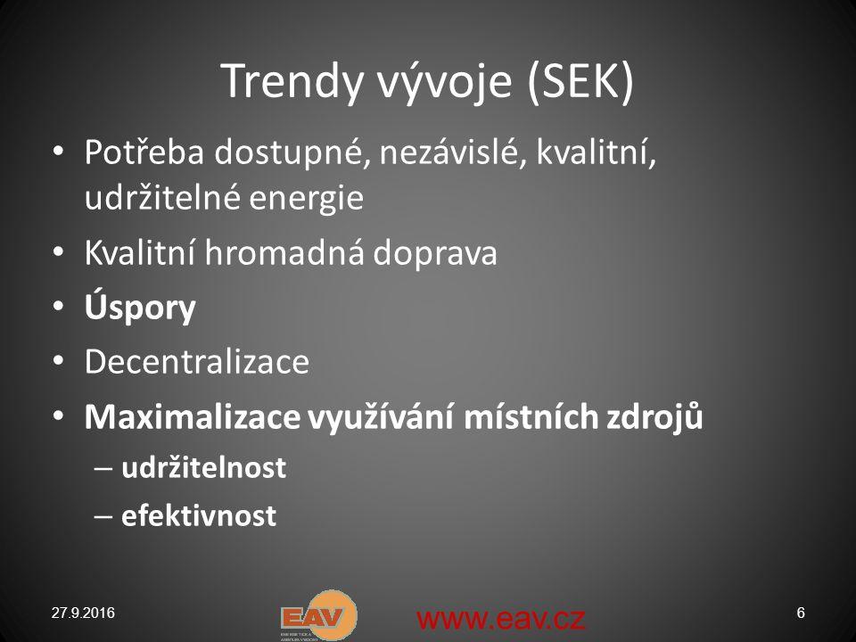 Trendy vývoje (SEK) Potřeba dostupné, nezávislé, kvalitní, udržitelné energie Kvalitní hromadná doprava Úspory Decentralizace Maximalizace využívání místních zdrojů – udržitelnost – efektivnost 27.9.20166 www.eav.cz