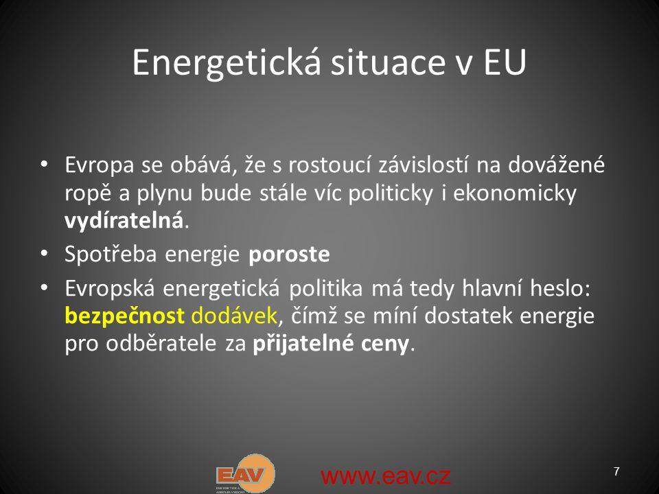 7 Energetická situace v EU Evropa se obává, že s rostoucí závislostí na dovážené ropě a plynu bude stále víc politicky i ekonomicky vydíratelná.