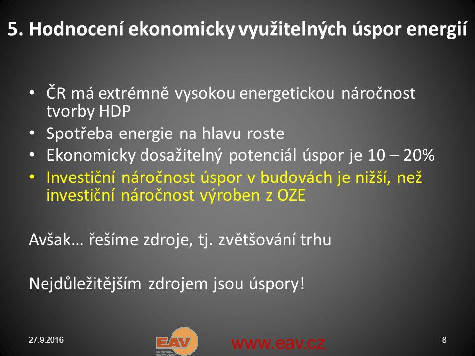 Snižování energetické náročnosti v současných podmínkách České republiky je potenciál úspor obrovský, jeho využití může výrazně zasáhnout do života celé společnosti přínosy snižování energetické náročnosti: a)úspora nákladů b)zvýšení konkurenceschopnosti c)úspora energie v dopravě d)snížení emisí, zejména CO2 e)vyšší komfort spotřebitelů energie, zvýšení životního standardu, kvalitní bydlení f)snížení množství odpadů g)Snížení závislosti www.eav.cz