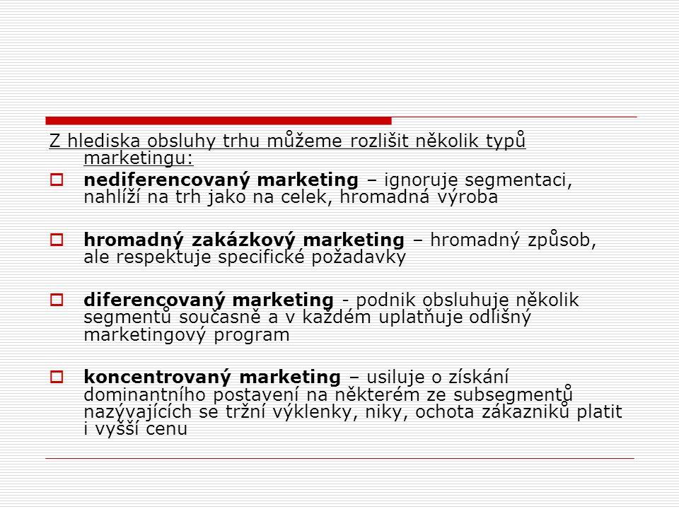 Z hlediska obsluhy trhu můžeme rozlišit několik typů marketingu:  nediferencovaný marketing – ignoruje segmentaci, nahlíží na trh jako na celek, hromadná výroba  hromadný zakázkový marketing – hromadný způsob, ale respektuje specifické požadavky  diferencovaný marketing - podnik obsluhuje několik segmentů současně a v každém uplatňuje odlišný marketingový program  koncentrovaný marketing – usiluje o získání dominantního postavení na některém ze subsegmentů nazývajících se tržní výklenky, niky, ochota zákazniků platit i vyšší cenu