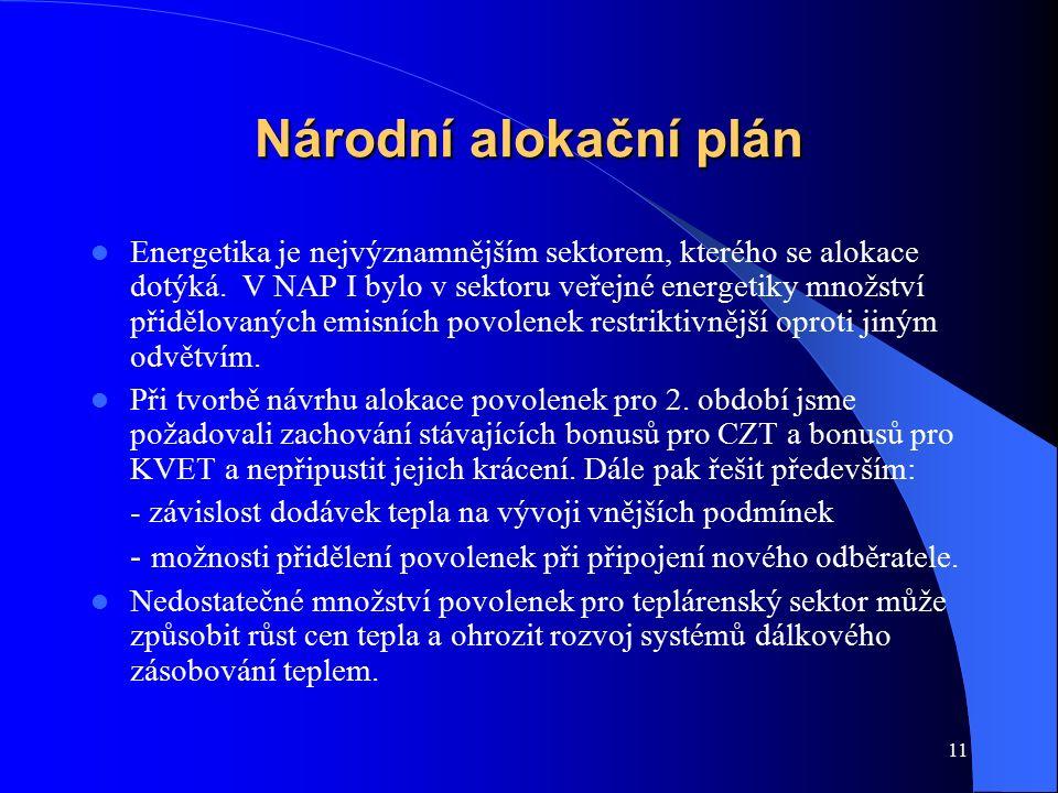 11 Národní alokační plán Energetika je nejvýznamnějším sektorem, kterého se alokace dotýká. V NAP I bylo v sektoru veřejné energetiky množství přidělo