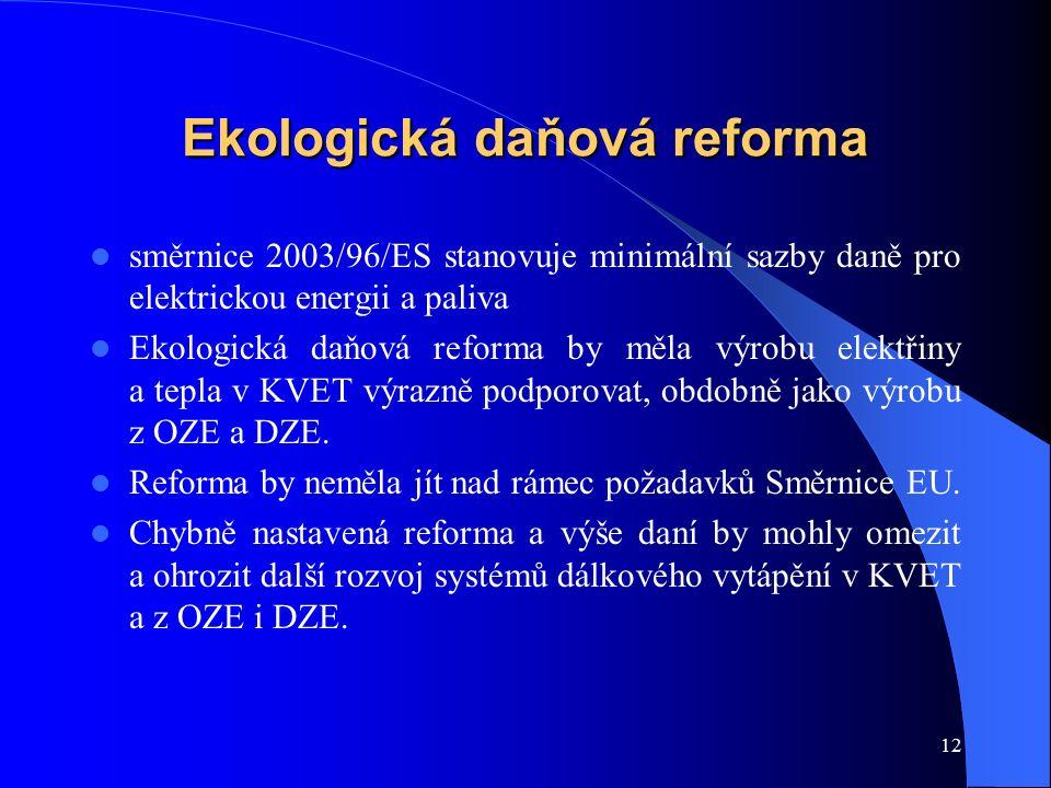 12 Ekologická daňová reforma směrnice 2003/96/ES stanovuje minimální sazby daně pro elektrickou energii a paliva Ekologická daňová reforma by měla výrobu elektřiny a tepla v KVET výrazně podporovat, obdobně jako výrobu z OZE a DZE.
