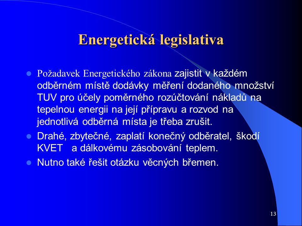 13 Energetická legislativa Požadavek Energetického zákona zajistit v každém odběrném místě dodávky měření dodaného množství TUV pro účely poměrného rozúčtování nákladů na tepelnou energii na její přípravu a rozvod na jednotlivá odběrná místa je třeba zrušit.