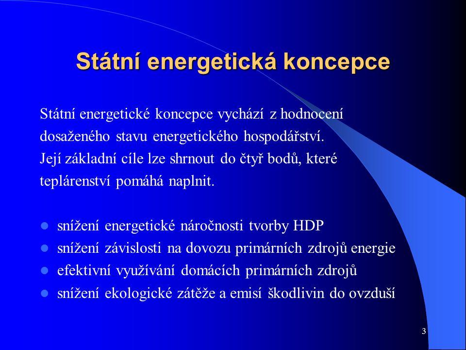 3 Státní energetická koncepce Státní energetické koncepce vychází z hodnocení dosaženého stavu energetického hospodářství. Její základní cíle lze shrn