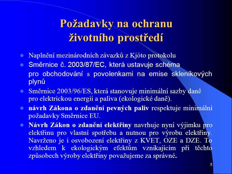 5 Požadavky na ochranu životního prostředí Naplnění mezinárodních závazků z Kjóto protokolu Směrnice č. 2003/87/EC, která ustavuje schéma pro obchodov