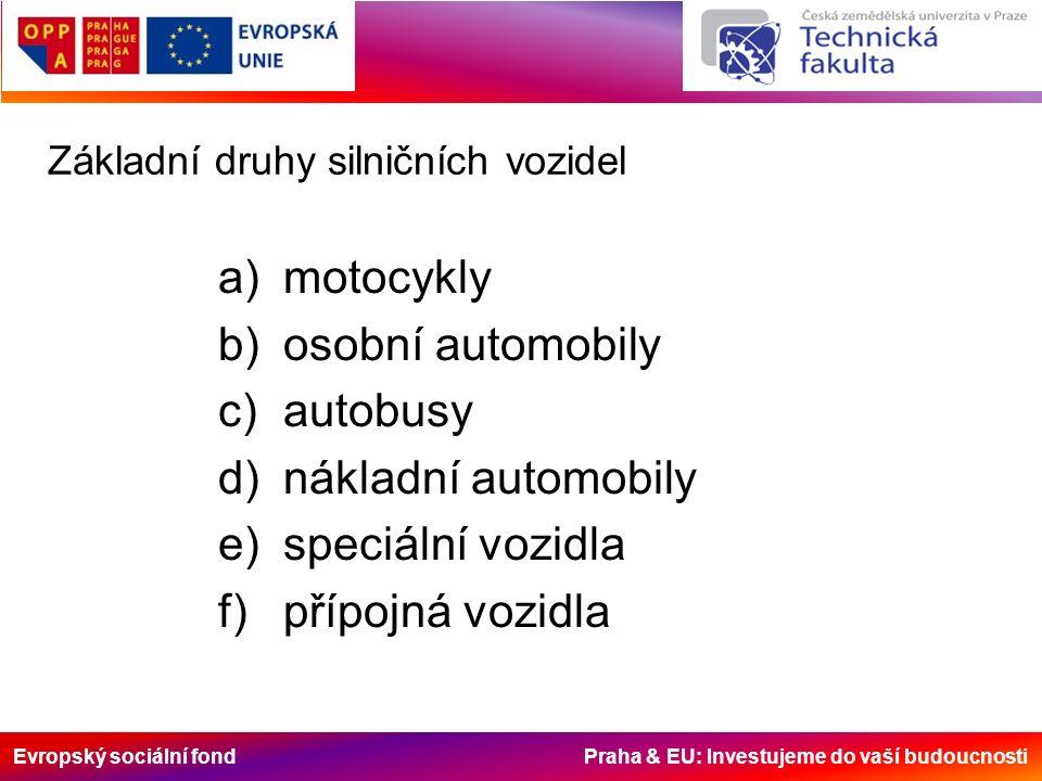 Evropský sociální fond Praha & EU: Investujeme do vaší budoucnosti Základní druhy silničních vozidel a)motocykly b)osobní automobily c)autobusy d)nákladní automobily e)speciální vozidla f)přípojná vozidla