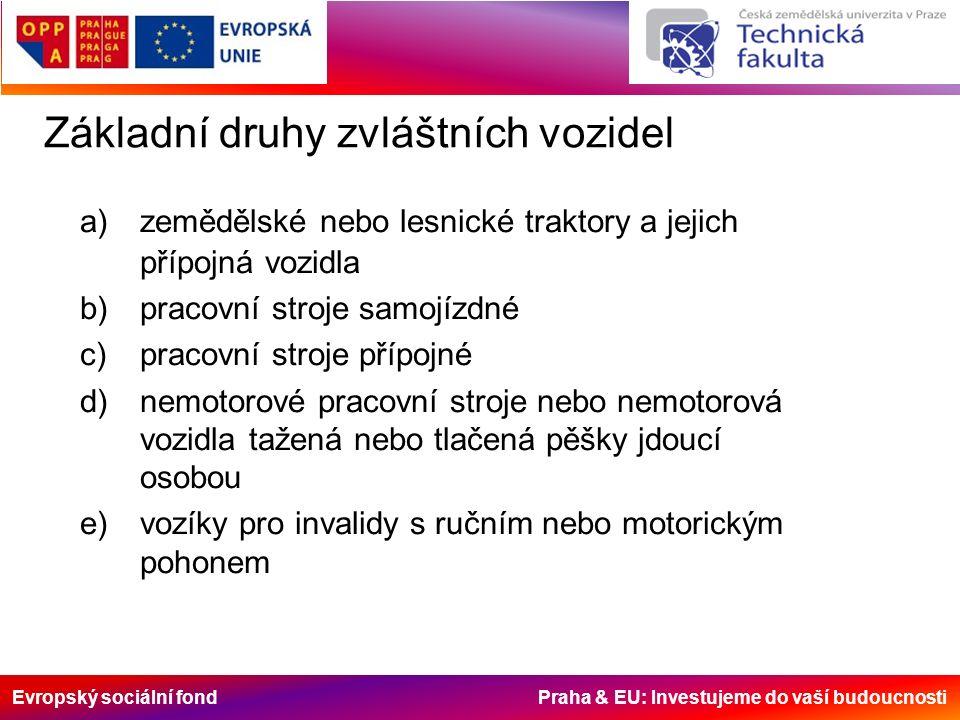 Evropský sociální fond Praha & EU: Investujeme do vaší budoucnosti Základní druhy zvláštních vozidel a)zemědělské nebo lesnické traktory a jejich příp