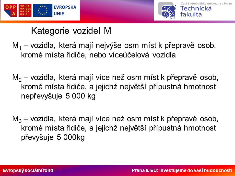 Evropský sociální fond Praha & EU: Investujeme do vaší budoucnosti Kategorie vozidel M M 1 – vozidla, která mají nejvýše osm míst k přepravě osob, kromě místa řidiče, nebo víceúčelová vozidla M 2 – vozidla, která mají více než osm míst k přepravě osob, kromě místa řidiče, a jejichž největší přípustná hmotnost nepřevyšuje 5 000 kg M 3 – vozidla, která mají více než osm míst k přepravě osob, kromě místa řidiče, a jejichž největší přípustná hmotnost převyšuje 5 000kg