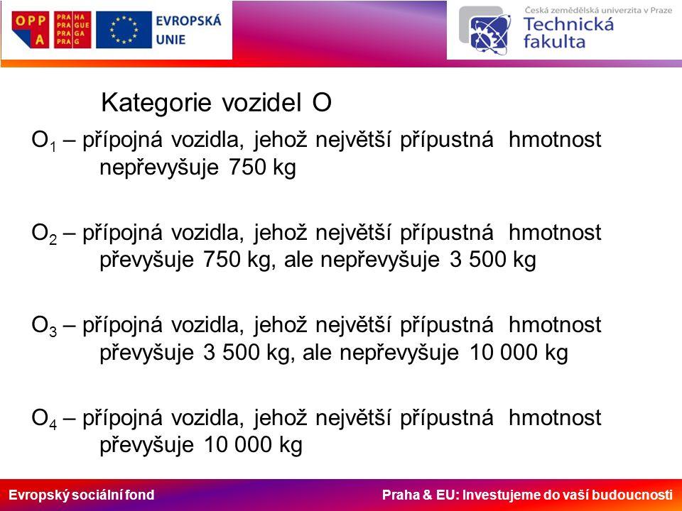 Evropský sociální fond Praha & EU: Investujeme do vaší budoucnosti Kategorie vozidel O O 1 – přípojná vozidla, jehož největší přípustná hmotnost nepřevyšuje 750 kg O 2 – přípojná vozidla, jehož největší přípustná hmotnost převyšuje 750 kg, ale nepřevyšuje 3 500 kg O 3 – přípojná vozidla, jehož největší přípustná hmotnost převyšuje 3 500 kg, ale nepřevyšuje 10 000 kg O 4 – přípojná vozidla, jehož největší přípustná hmotnost převyšuje 10 000 kg