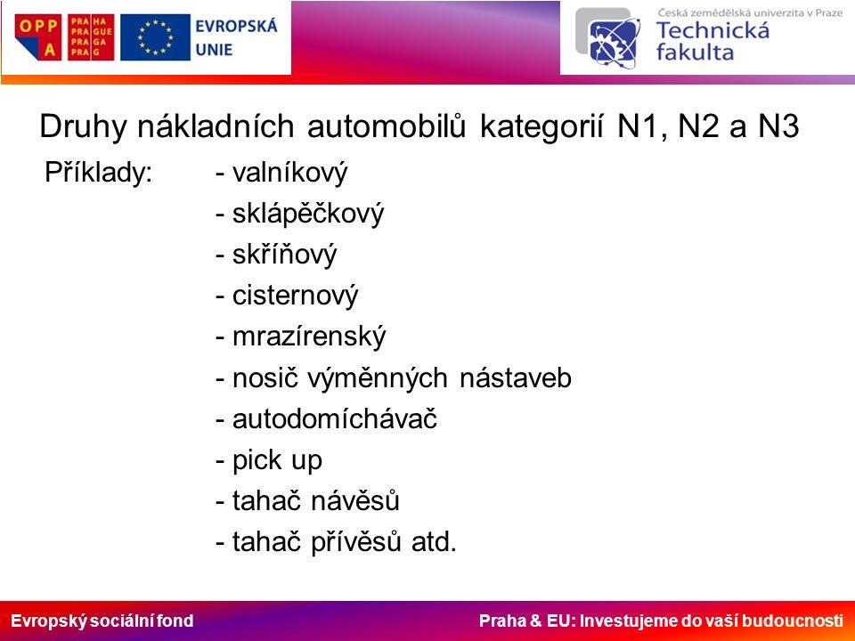 Evropský sociální fond Praha & EU: Investujeme do vaší budoucnosti Druhy nákladních automobilů kategorií N1, N2 a N3 Příklady:- valníkový - sklápěčkový - skříňový - cisternový - mrazírenský - nosič výměnných nástaveb - autodomíchávač - pick up - tahač návěsů - tahač přívěsů atd.