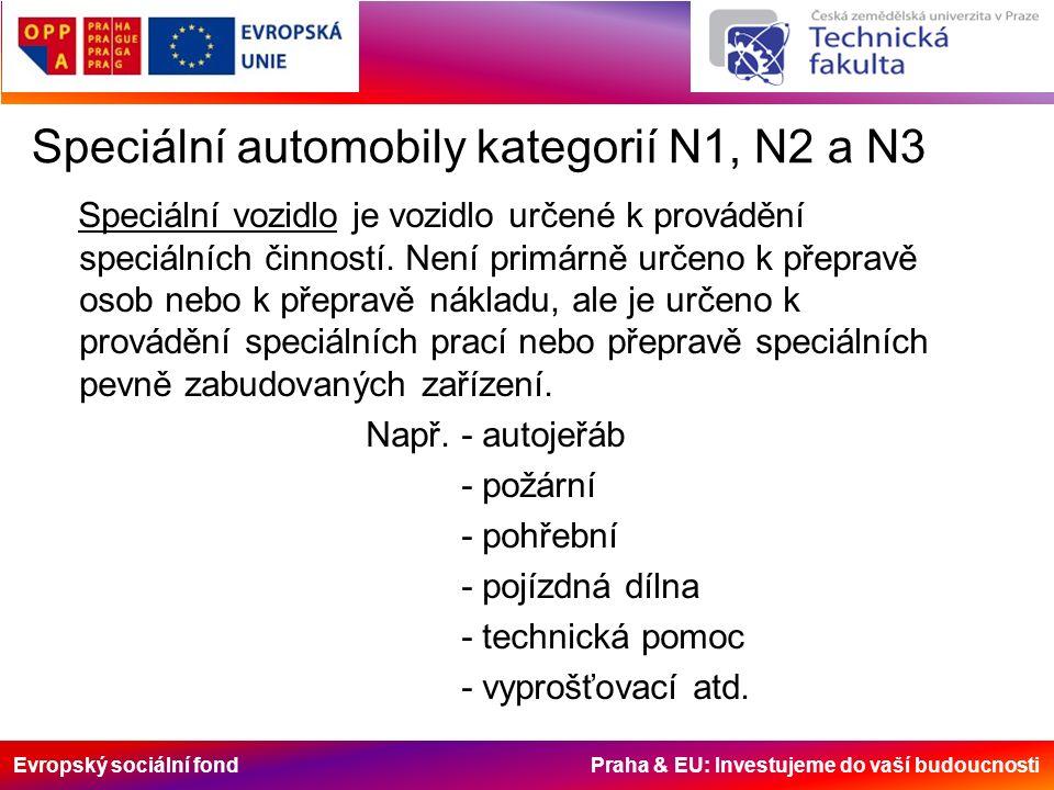 Evropský sociální fond Praha & EU: Investujeme do vaší budoucnosti Speciální automobily kategorií N1, N2 a N3 Speciální vozidlo je vozidlo určené k provádění speciálních činností.