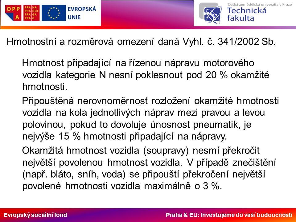 Evropský sociální fond Praha & EU: Investujeme do vaší budoucnosti Hmotnostní a rozměrová omezení daná Vyhl. č. 341/2002 Sb. Hmotnost připadající na ř