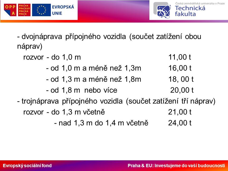 Evropský sociální fond Praha & EU: Investujeme do vaší budoucnosti - dvojnáprava přípojného vozidla (součet zatížení obou náprav) rozvor - do 1,0 m 11,00 t - od 1,0 m a méně než 1,3m16,00 t - od 1,3 m a méně než 1,8m 18, 00 t - od 1,8 m nebo více 20,00 t - trojnáprava přípojného vozidla (součet zatížení tří náprav) rozvor - do 1,3 m včetně21,00 t - nad 1,3 m do 1,4 m včetně 24,00 t