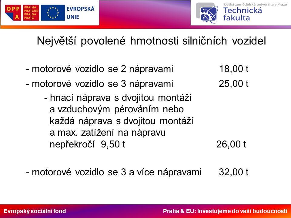 Evropský sociální fond Praha & EU: Investujeme do vaší budoucnosti Největší povolené hmotnosti silničních vozidel - motorové vozidlo se 2 nápravami18,00 t - motorové vozidlo se 3 nápravami25,00 t - hnací náprava s dvojitou montáží a vzduchovým pérováním nebo každá náprava s dvojitou montáží a max.