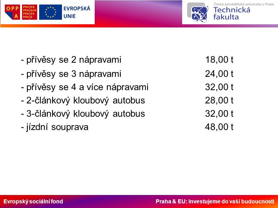 Evropský sociální fond Praha & EU: Investujeme do vaší budoucnosti - přívěsy se 2 nápravami18,00 t - přívěsy se 3 nápravami24,00 t - přívěsy se 4 a více nápravami32,00 t - 2-článkový kloubový autobus28,00 t - 3-článkový kloubový autobus32,00 t - jízdní souprava48,00 t