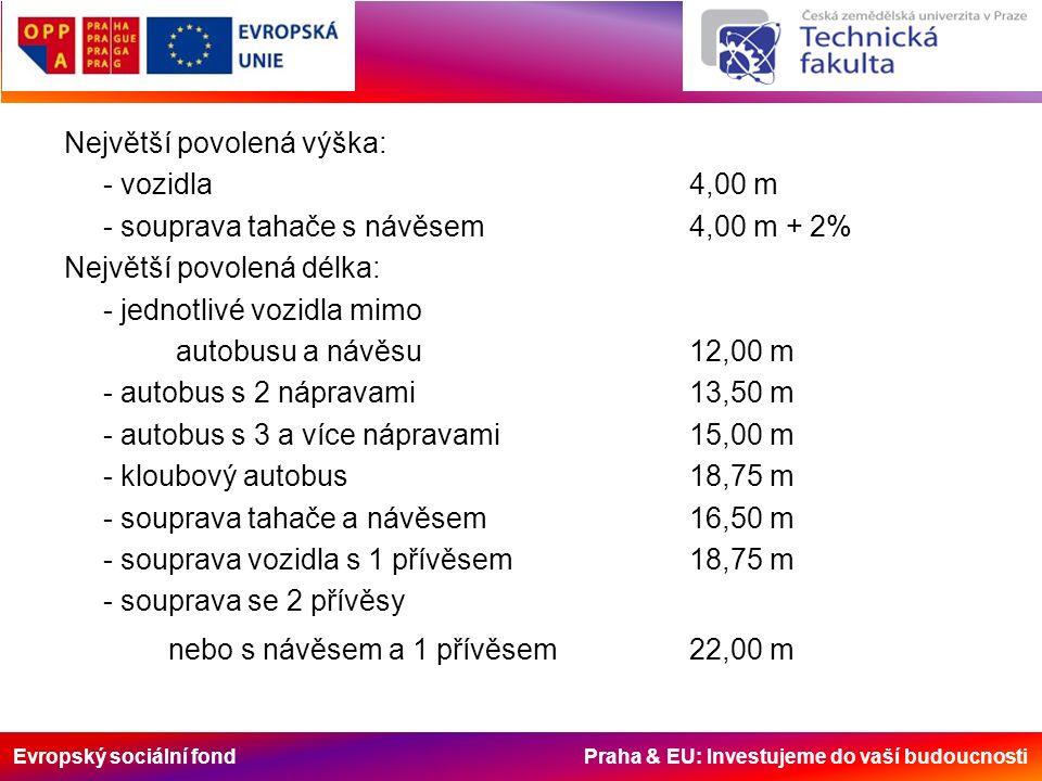 Evropský sociální fond Praha & EU: Investujeme do vaší budoucnosti Největší povolená výška: - vozidla4,00 m - souprava tahače s návěsem4,00 m + 2% Nej