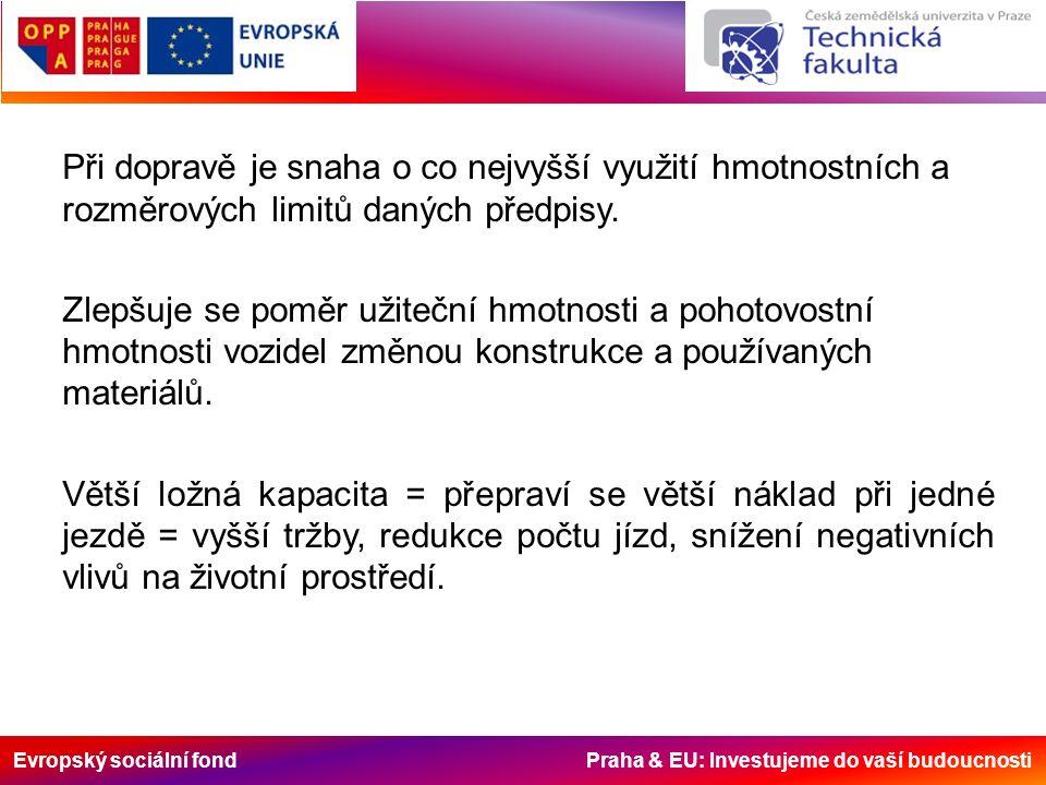 Evropský sociální fond Praha & EU: Investujeme do vaší budoucnosti Při dopravě je snaha o co nejvyšší využití hmotnostních a rozměrových limitů daných