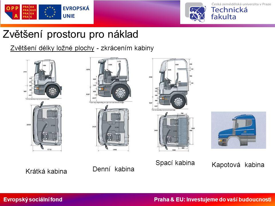 Evropský sociální fond Praha & EU: Investujeme do vaší budoucnosti Zvětšení prostoru pro náklad Zvětšení délky ložné plochy - zkrácením kabiny Krátká kabina Denní kabina Spací kabina Kapotová kabina