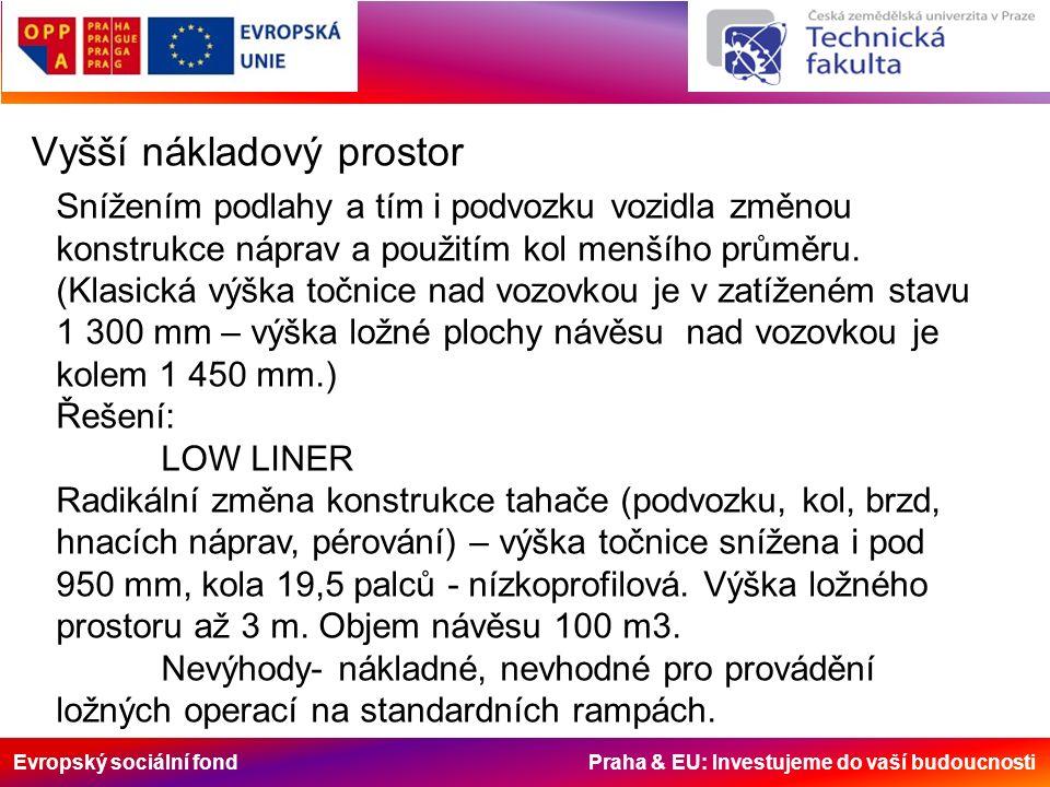 Evropský sociální fond Praha & EU: Investujeme do vaší budoucnosti Vyšší nákladový prostor Snížením podlahy a tím i podvozku vozidla změnou konstrukce náprav a použitím kol menšího průměru.