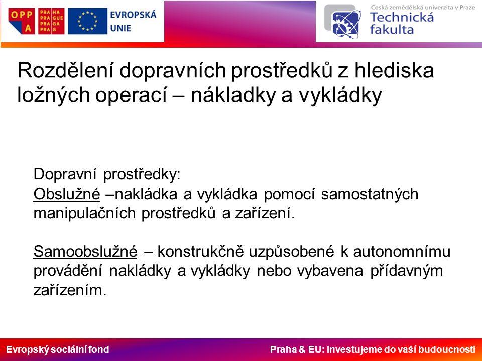 Evropský sociální fond Praha & EU: Investujeme do vaší budoucnosti Rozdělení dopravních prostředků z hlediska ložných operací – nákladky a vykládky Dopravní prostředky: Obslužné –nakládka a vykládka pomocí samostatných manipulačních prostředků a zařízení.