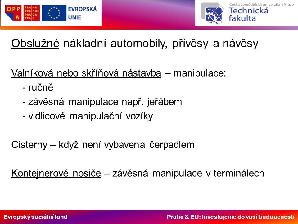 Evropský sociální fond Praha & EU: Investujeme do vaší budoucnosti Obslužné nákladní automobily, přívěsy a návěsy Valníková nebo skříňová nástavba – manipulace: - ručně - závěsná manipulace např.