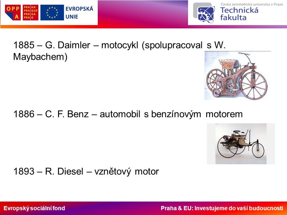 Evropský sociální fond Praha & EU: Investujeme do vaší budoucnosti 1885 – G. Daimler – motocykl (spolupracoval s W. Maybachem) 1886 – C. F. Benz – aut